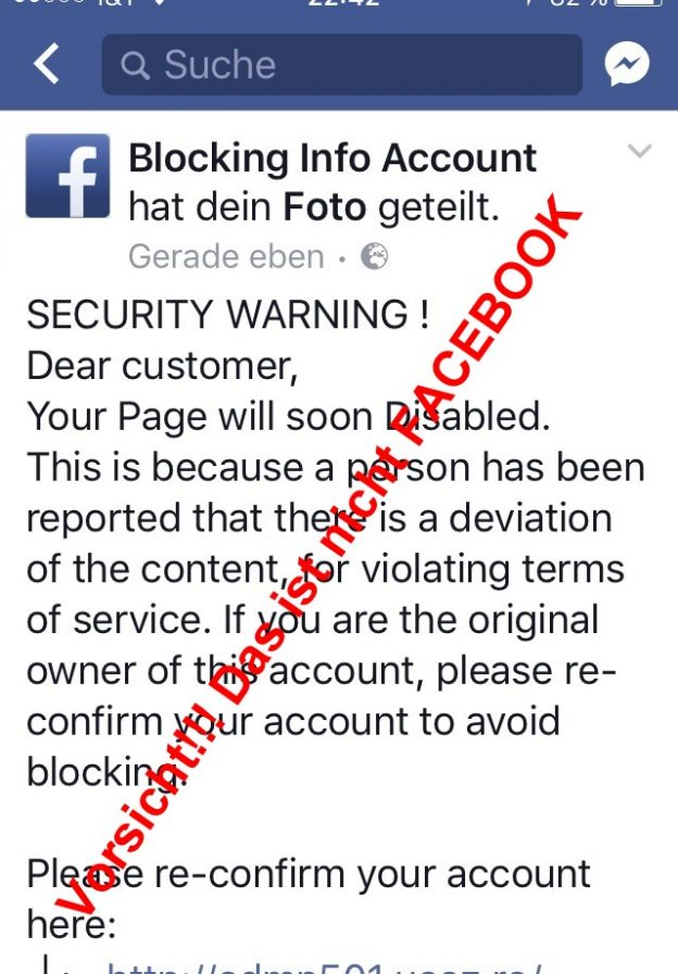 Scam – BlockingInfoAccount – Betrug im Internet auch bei Facebook