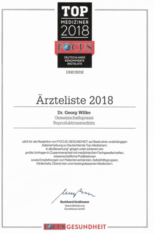 Auszeichnung Ärzteliste fokus Top-Mediziner 2018